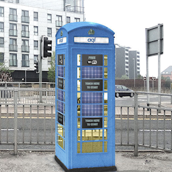 aql blue phone box in leeds
