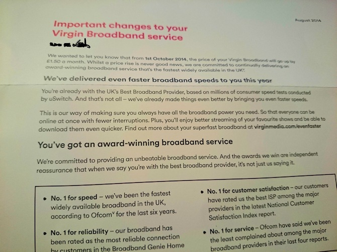 Price Rises for Existing Virgin Media Broadband Customers in