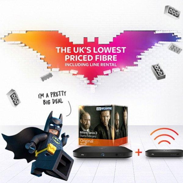 sky broadband uk lowest priced fibre advert batman