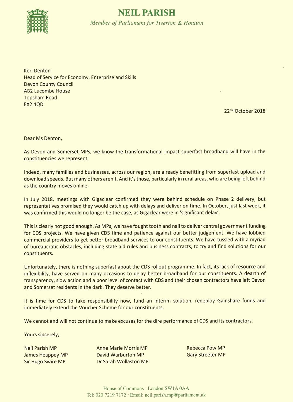 neil parish mp gigaclear letter