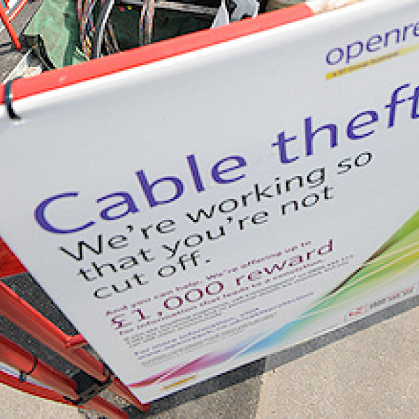 bt copper cable theft sign