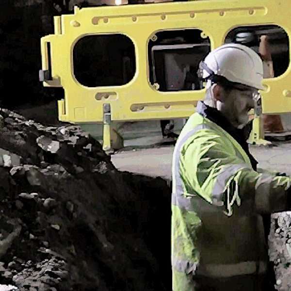 telecoms engineer street works at night