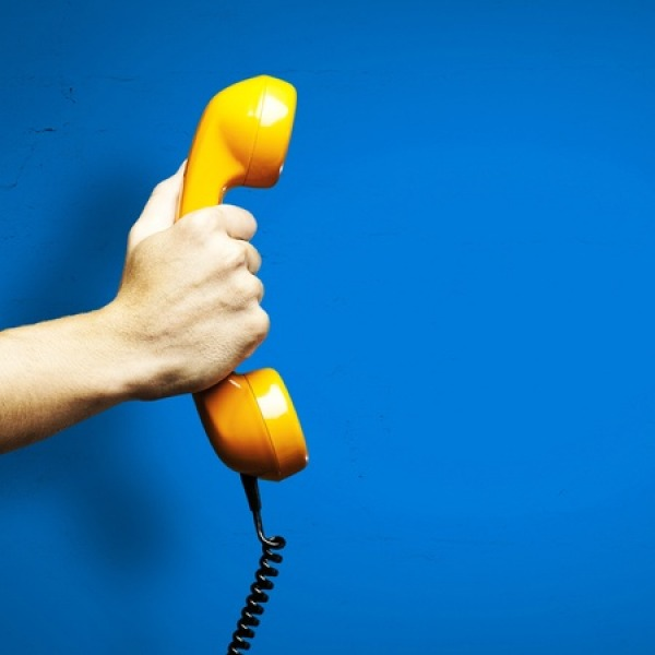 telephone blue background