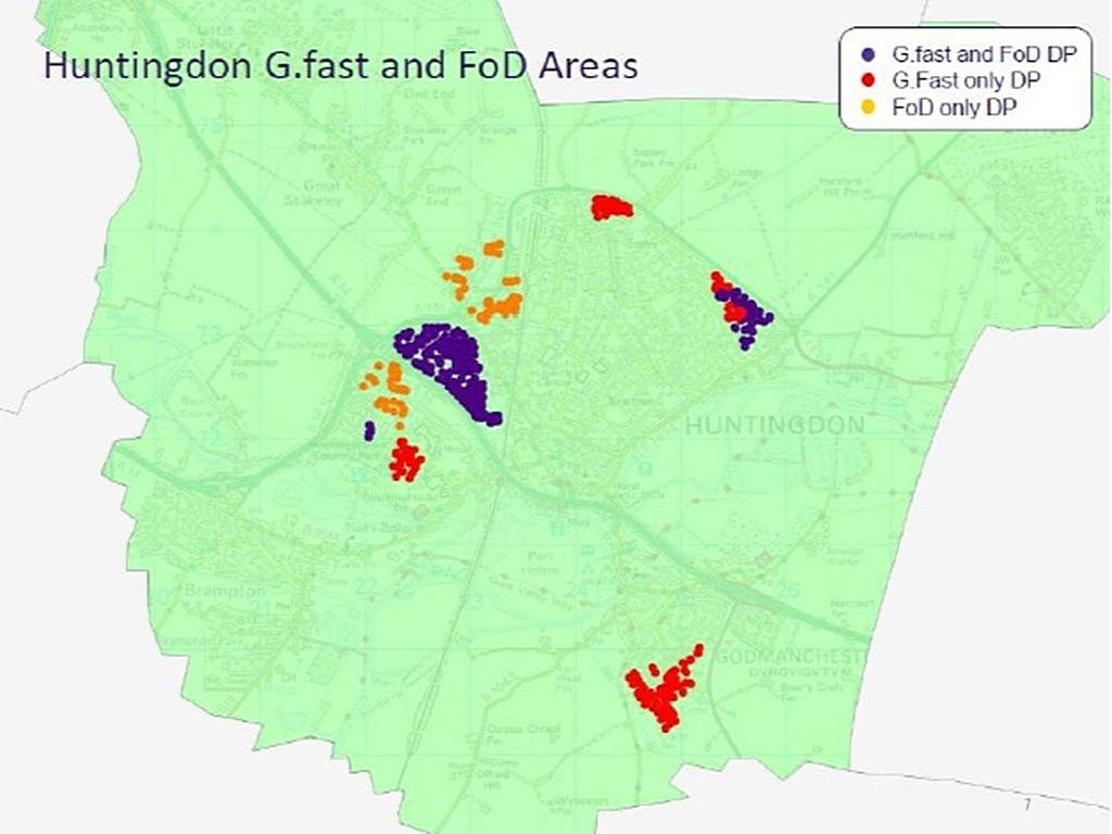 Huntingdon G.fast deployment trial map