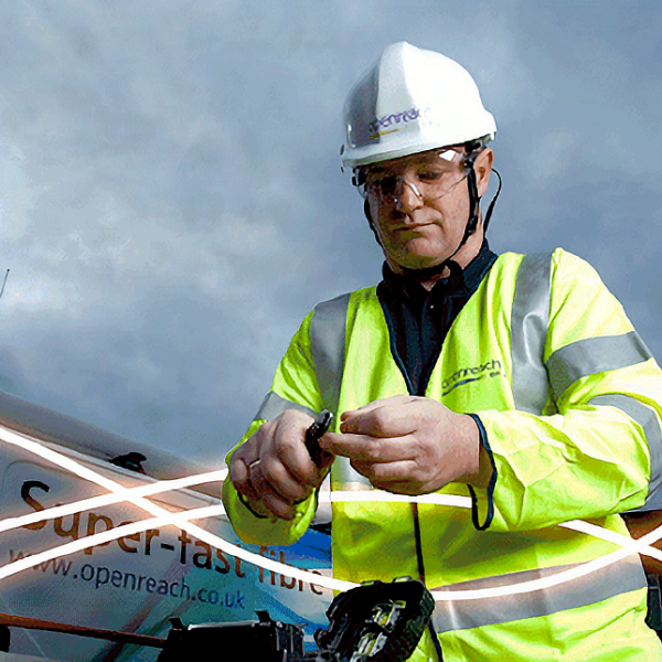 bt engineer cutting fibre optic cable
