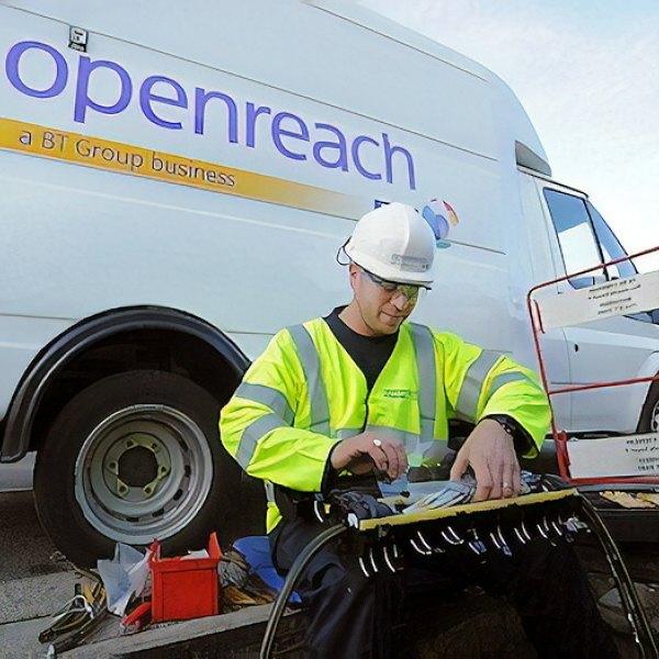 bt openreach van with fibre engineer