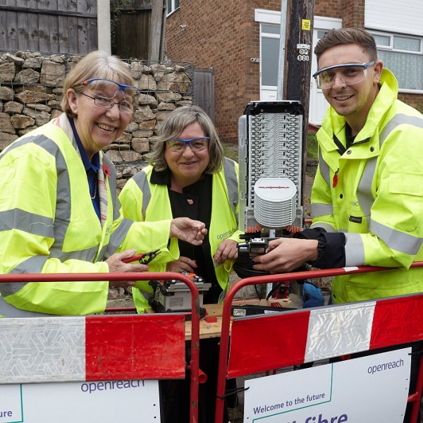 5th November 2018Openreach installing full fibre broadband in Nottingham.Pictured: Cllr Kay Cutts (Leader of Nottinghamshire County Council), Kim Mears (MD) and Reese Orton (Chief Engineeer Contractor Liason Officer).