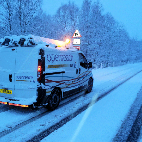 openreach van on snowy road