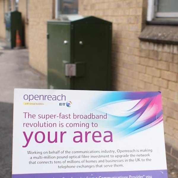 superfast broadband from openreach bt sign