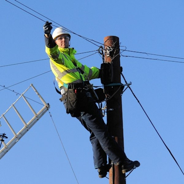 telegraph pole and bt openreach engineer