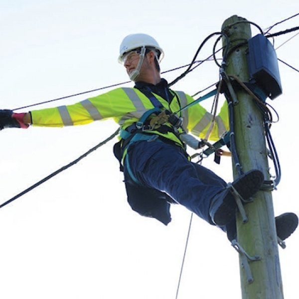 telegraph pole openreach engineer hanging
