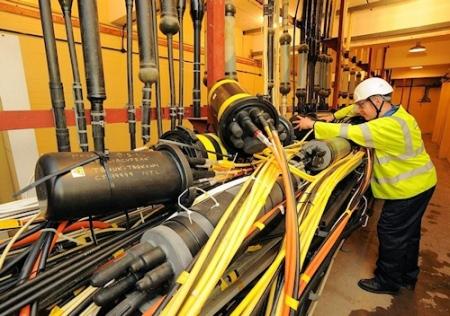 BT major fibre optic cable junction telephone exchange uk