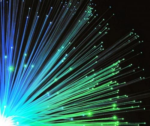 fibre optic blue green strands