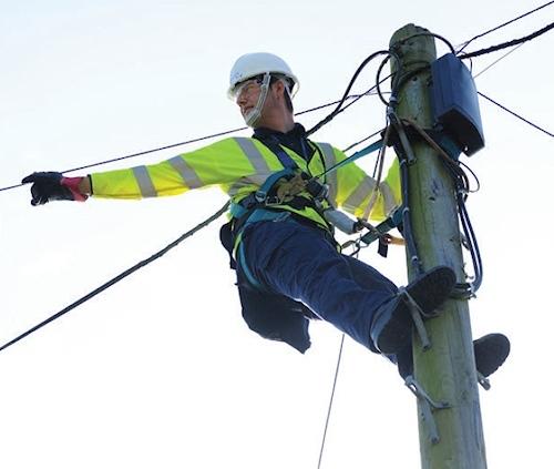 telegraph pole openreach engineer hanging