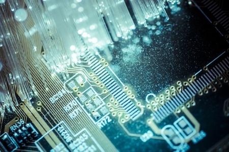 fibre optic cables on pcb circuit board