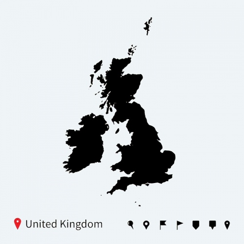 united kingdom black map