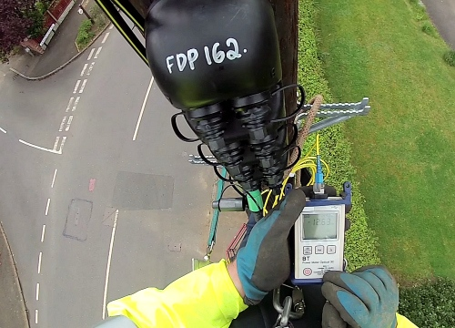 telegraph pole with openreach ont fibre optic testing