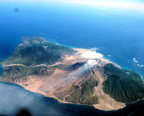 Montserrat volcano island