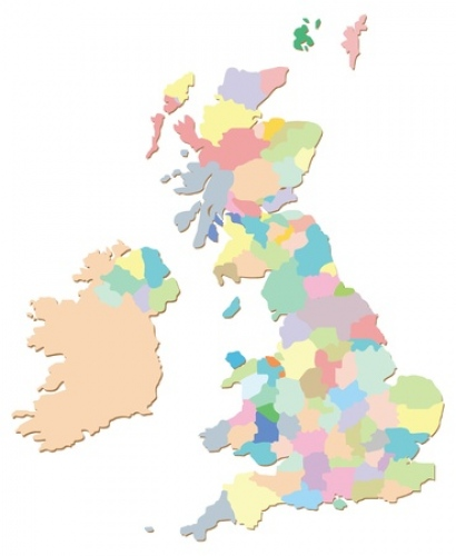 united kingdom coloured counties map