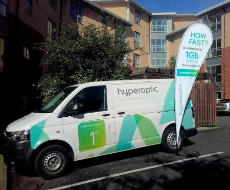 hyperoptic van parked outside mdu