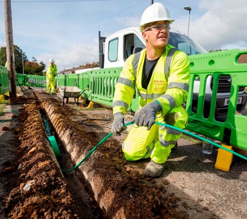 virgin media fibre trench and cable