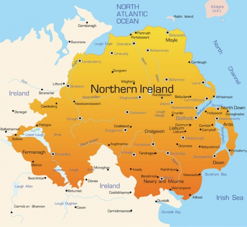 northern ireland uk map