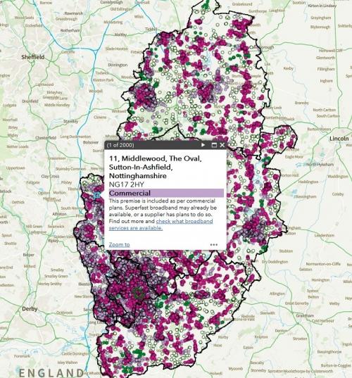 nottinghamshire broadband map