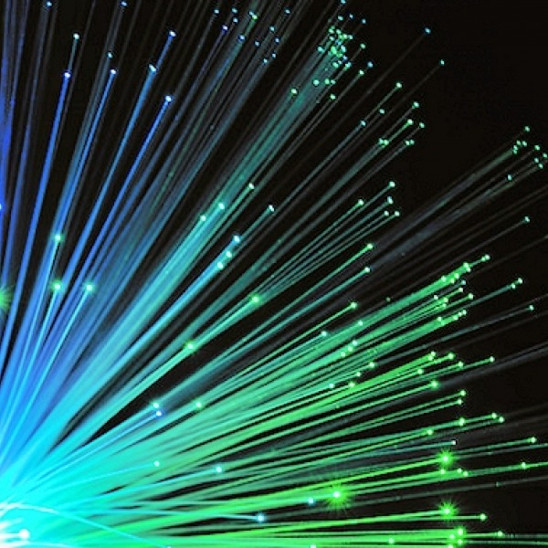 fibre optic blue green strands