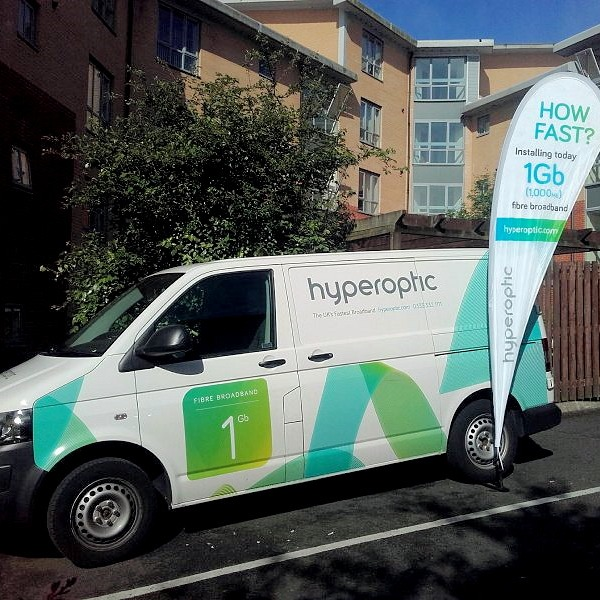 hyperoptic van parked outside mdu