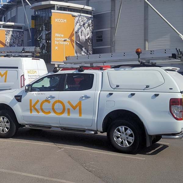 kcom van with ladder on top