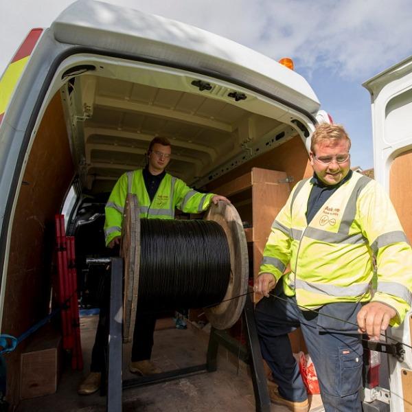 virgin media cable van and two engineers