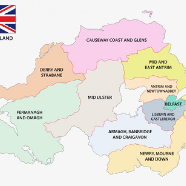 northern ireland regions map uk