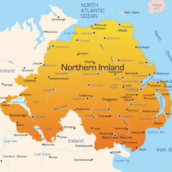 northern ireland uk map
