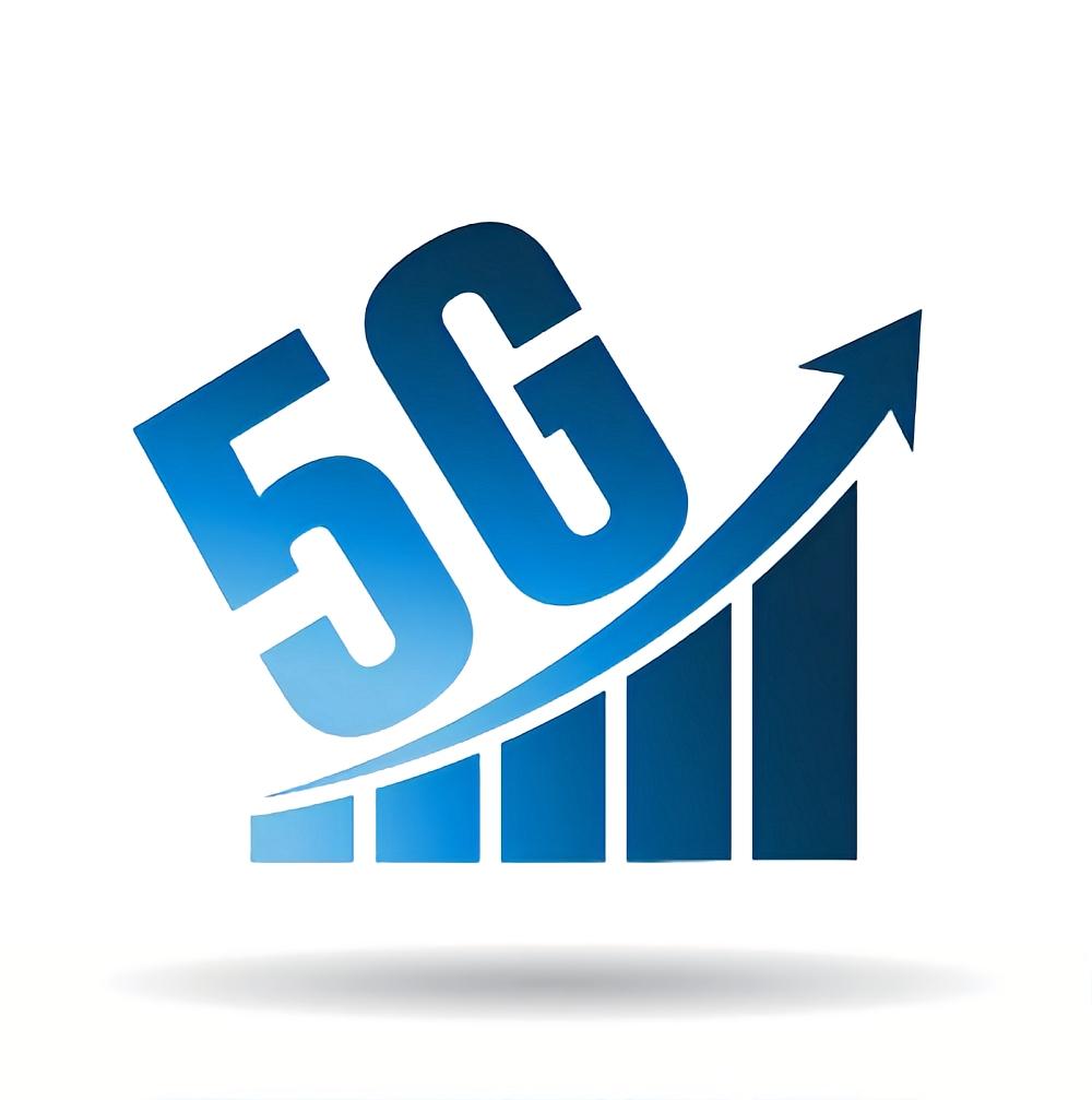 5G fast network logo. Speed internet 5g concept. wifi bars symbol of speed 5g network