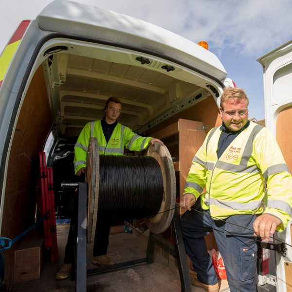 virgin media cable van and two engineers