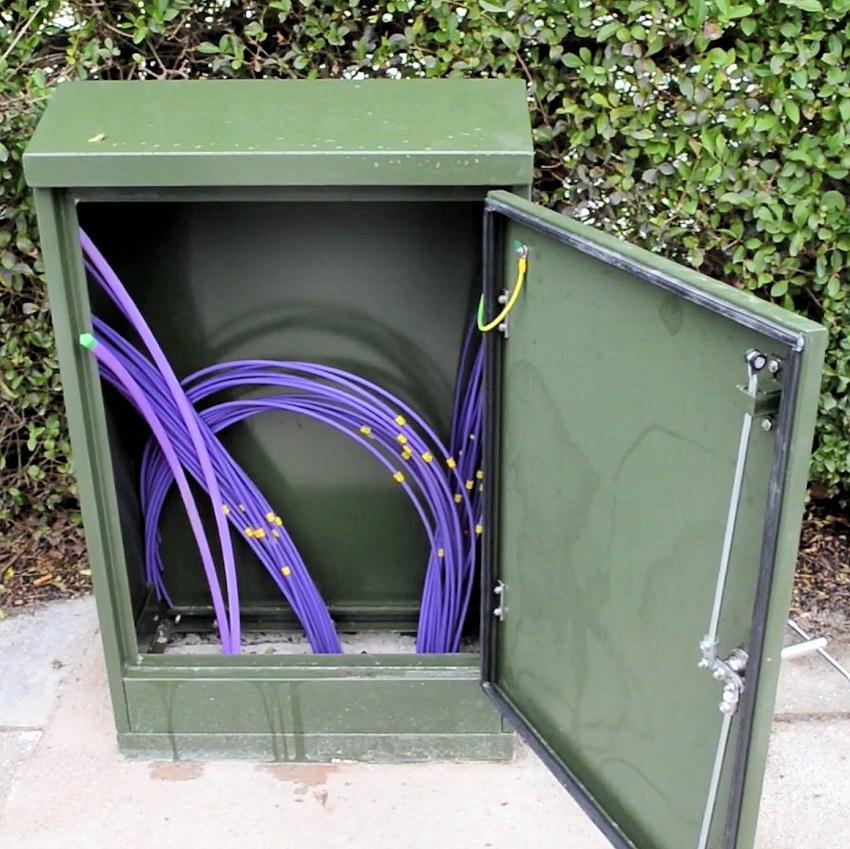 cityfibre cabinet empty with optical fibres
