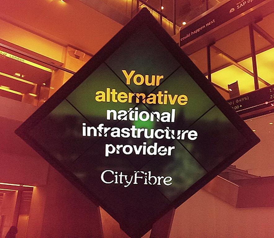 cityfibre logo in office building space