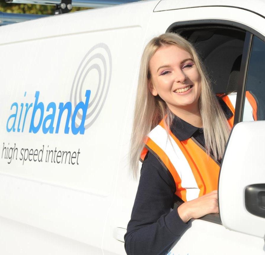 airband uk female broadband engineer in van