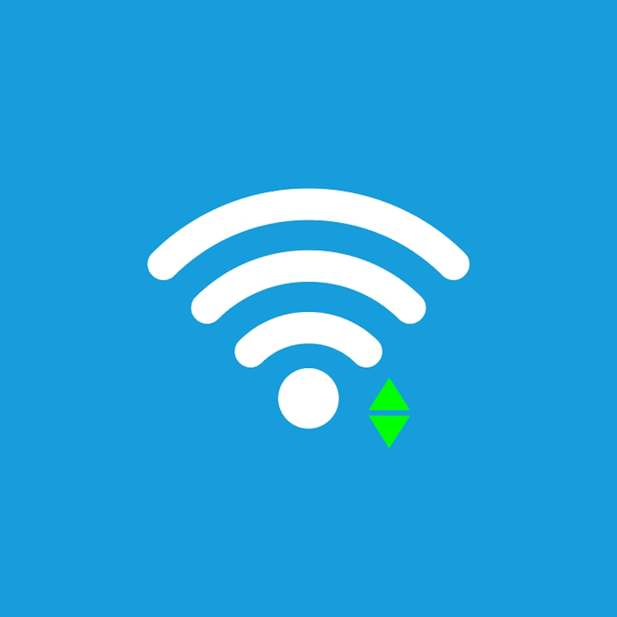 Wi-Fi icon, sign. Vector illustration. Flat design. Connect green sign. Blue background.