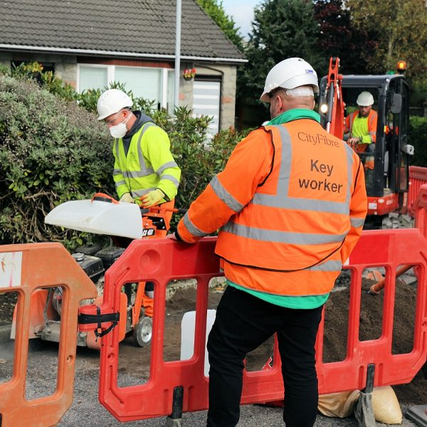 CityFibre trenching engineers fttp build