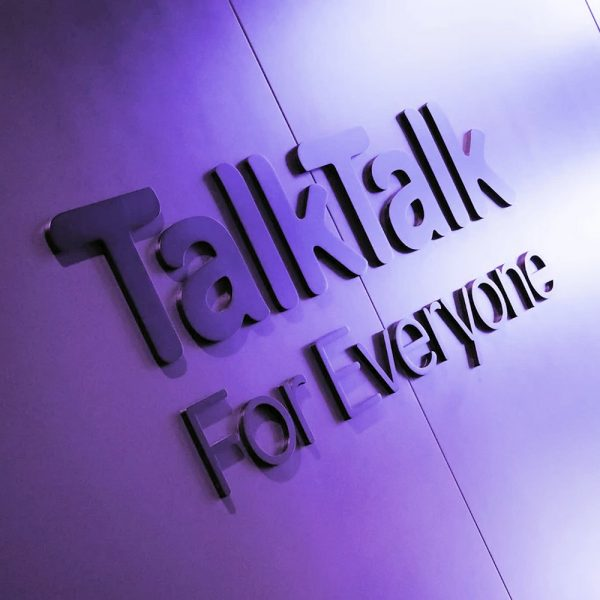 TalkTalk Logo on Blue Wall