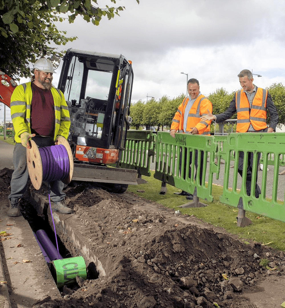 CityFibre Enginers Over Trench