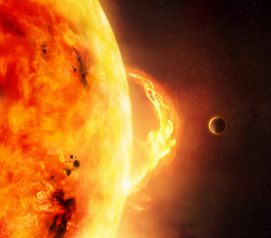 The Sun – Solar Flare. An illustration of the sun and sun flare with a planet to give scale to the size of the flare. (The Sun – Solar Flare. An illustration of the sun and sun flare with a planet to give scale to the size of the flare