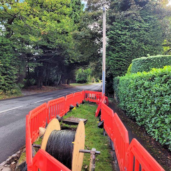 Grayshott Gigabit Fibre Cable Drum on Rural Road