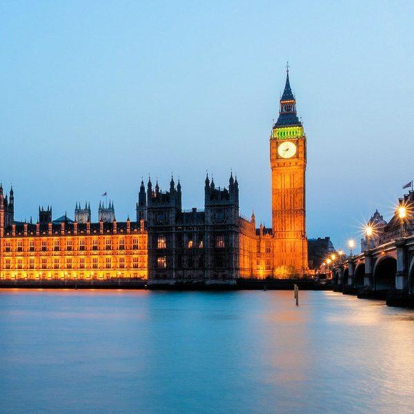 Parliament UK Building at Dusk in London 2021
