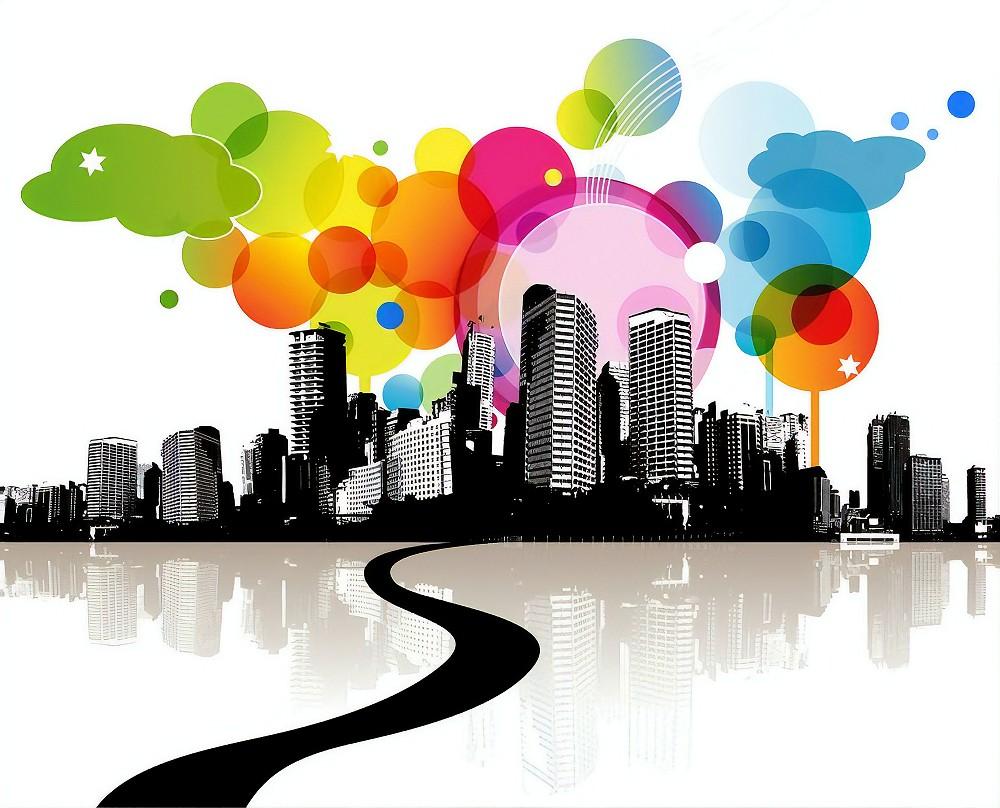 city overview abstract art uk broadband