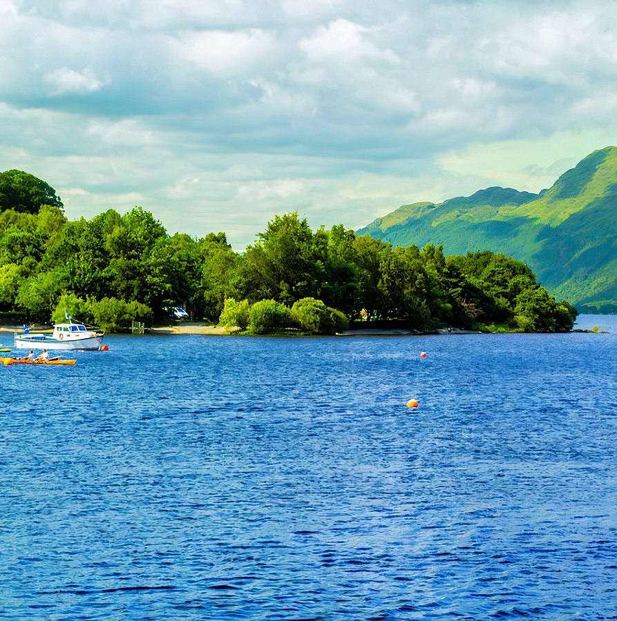 People  on the motor boat at the Loch Lomond lake in Scotland