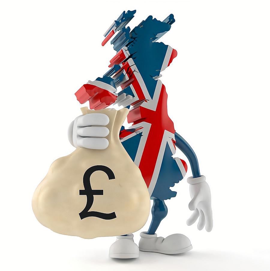 UK character holding money bag isolated on white background