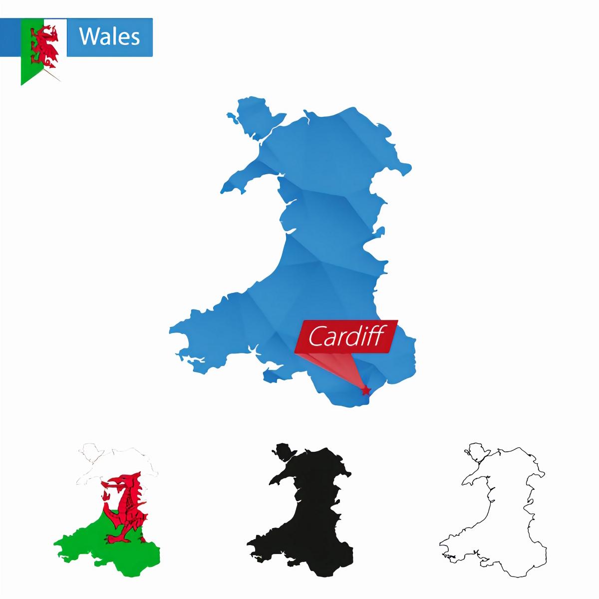 wales uk three maps