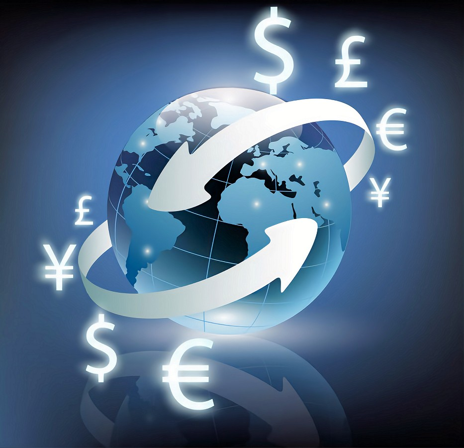 arrows around planet earth and world currency